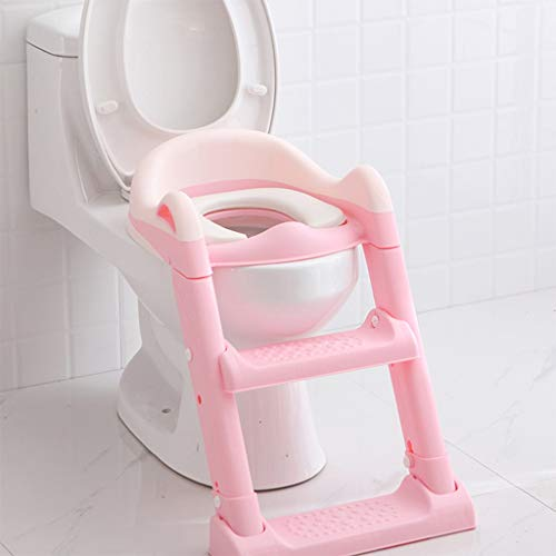 XWJC Children's Toilet Toilet Baby Toilet Seat Baby Toilet Ladder Child Toilet Seat Soft Cushion (Color : Pink) by XWJC (Image #1)