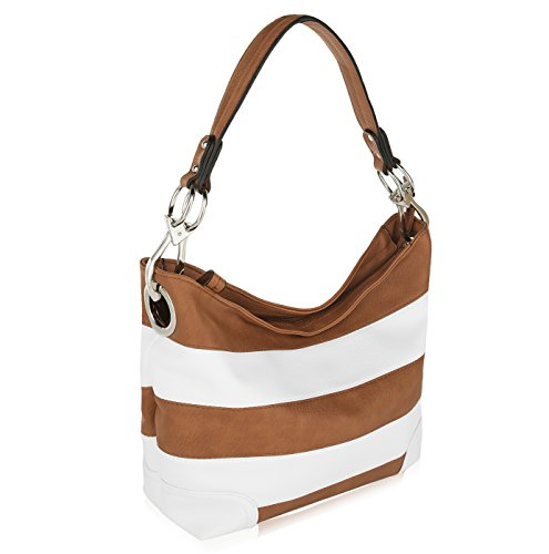 MKF Collection by Mia K Farrow Emily Soft Vegan Leather Stripe Hobo Handbag