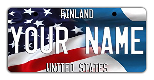BleuReign(TM) Personalized Custom Name Mixed USA and Finland Flag Bicycle Bike Moped Golf Cart 3
