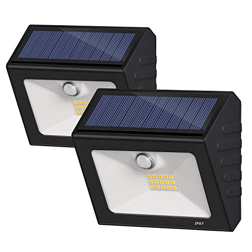 Led Solar Motion Sensor Lights, 15 LED Wireless Waterproof Solar Powered Security Light Outdoor Lights with Unique Reflector for Garden,Wall, Patio,Yard, Driveway Black Pack of 2