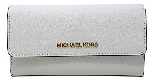 Michael Kors Jet Set Travel Large Saffiano Leather Trifold Wallet (Optic White)