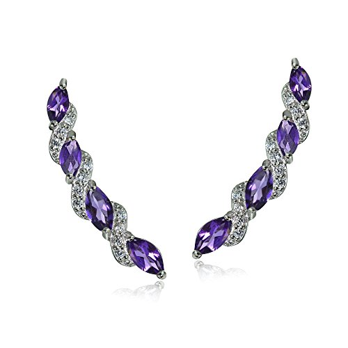 (Sterling Silver African Amethyst and White Topaz Twist Crawler Climber Hook Earrings)