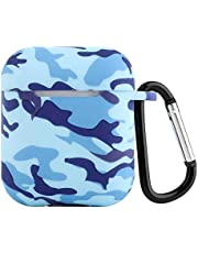 Seadream Compatible with AirPods Protective Case, Silicone Camouflage Shock Proof Protective Cover Skin with Sport Carabiner & Dustproof Plug Compatible with Apple Airpods Charging Case (Camouflage#2)
