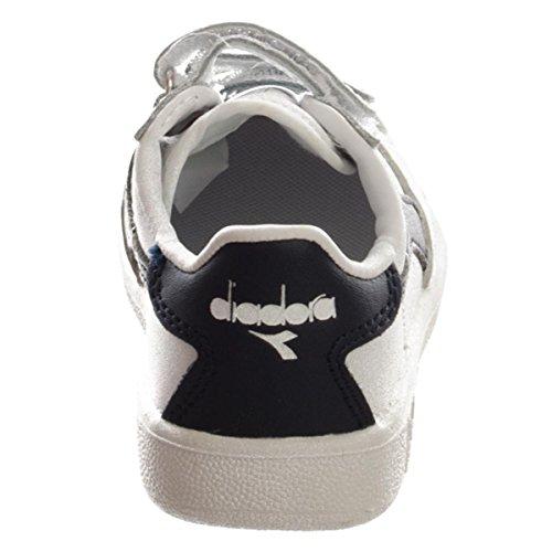 Diadora Unisex-Kinder B Elite I Sneaker Low Hals, White Blue, EU White/Blue Denim/Blue Den