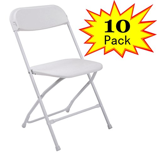Premium 10 Plastic Folding Chairs Wedding Party Banquet Seat, White