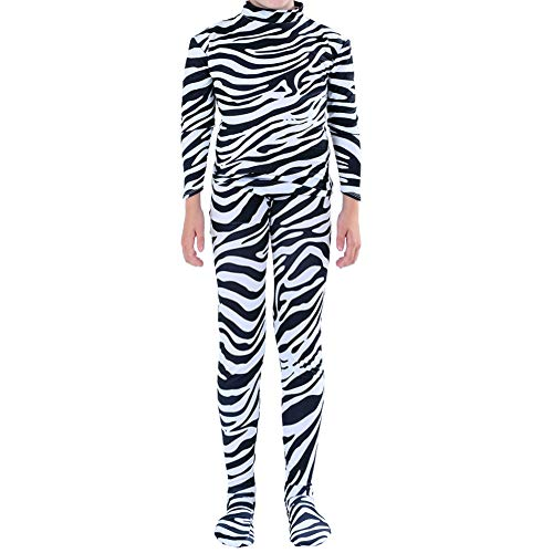 Muka Adult & Kid Zentai Unitard Bodysuit Halloween Costume Catsuit Dancewear-Zebra-Kid L -