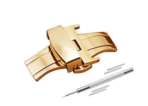 Watch Buckle Replacement 24mm Stainless Steel Watch Band Golden Tone Double Push Spring Watchband Clasp by DaStrap (Image #1)