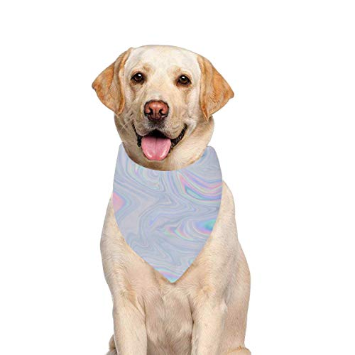JTMOVING Dog Scarf Holographic Pastel Neon Color Printing Dog Bandana Triangle Kerchief Bibs Accessories for Large Boy Girl Dogs Cats Pets Birthday Party Gift
