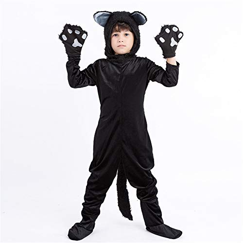 Kids Halloween Cat Cosplay Costume Girls Boys Black Fancy Animal Role Play Performance Outfits for $<!--$28.99-->
