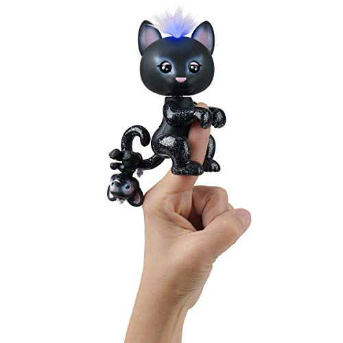 WowWee Fingerlings Light-Up Baby Black Panther and Mini - Allec and Ronni - Interactive Toy