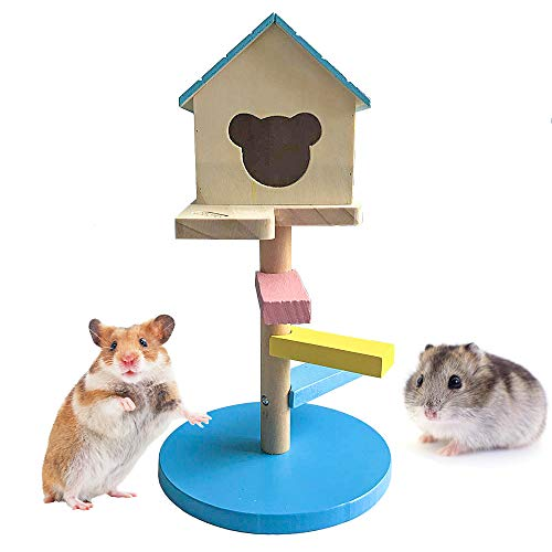 BLSMU Syrian Hamster Wood House,Sugar Glider Hideout,Dwarf Hamster Cage Supplies,Chinchilla Hut,Small Animal Playground Climbing Chew Toys,Natural Wooden Castle - Two Layers