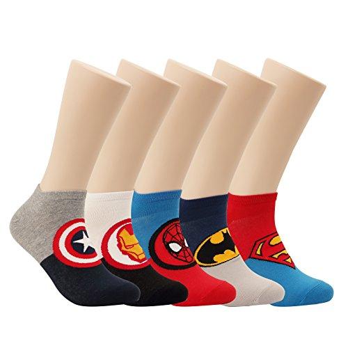 5 Pairs Movie Hero Socks Character Original Low cut Crew Ankle No Show Socks (5pair - Low Cut(Marvel & DC))