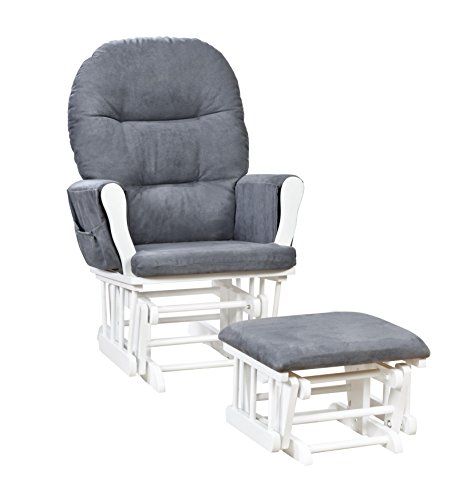 Naomi Home Brisbane Glider & Ottoman Set White/Dark Gray Custom Upholstered Ottomans