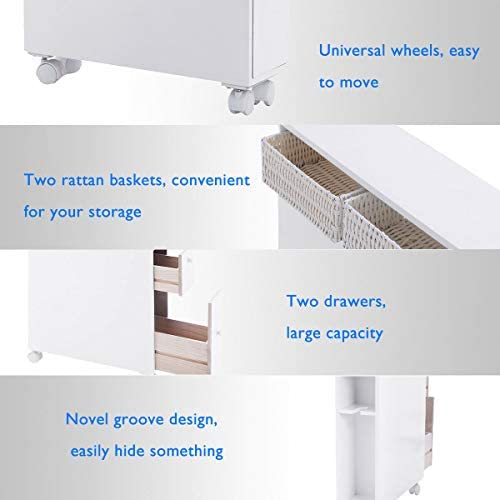 home, kitchen, bath, bathroom accessories, holders, dispensers,  bathroom trays 3 on sale Tangkula Slim Bathroom Storage Cabinet, Wooden Rolling Floor promotion