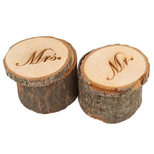 Tinksky 2pcs Wedding Ring Box Wooden Printed Mr Mrs Shabby Chic ring box Valentine's Day gift box