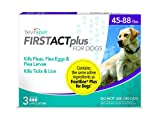 TevraPet FirstAct Plus Flea and Tick Topical for Dogs 45-88 Pounds, 3 Applicators