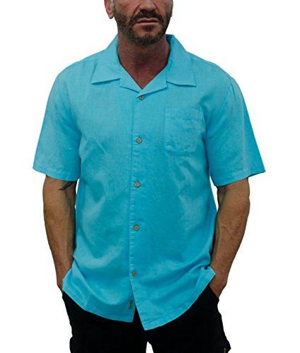 Short Fin Short Sleeve Linen Shirt (Neon Blue, Size 2X Large, L8041)