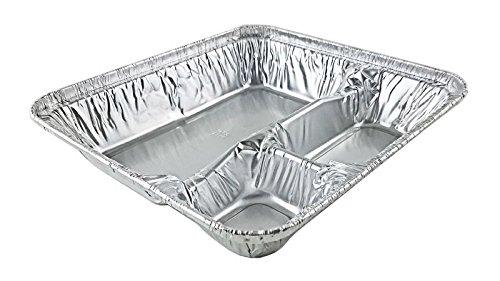 Handi-Foil Large Aluminum 3-Compartment Oblong Tv Dinner Tray Pan w/Lid 25/Pk (pack of 25)