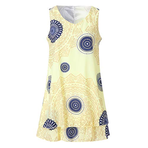Pocciol Printed Sleeveless Tank Tops,Womens Plus Size Midi Dress Loose Shift Tank Vest Sun Dress