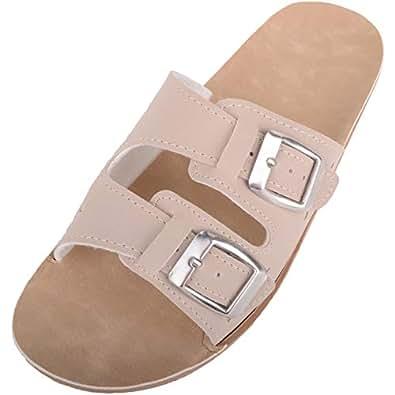 ABSOLUTE FOOTWEAR Womens Casual Slip On Mule Wedge Summer/Holiday Sandals/Shoes - Beige - US 5