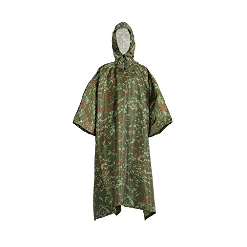 (SUJING Military Tactical Multifunction Raincoat Poncho Cover Tent Hiking Rainwear, Waterproof Raincoat with Hoods Blue)