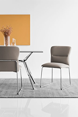 Connubia Frida Upholstered Chair with Metal Stained Chrome Frame & Skuba Taupe Seat (Calligaris Chair Upholstered)