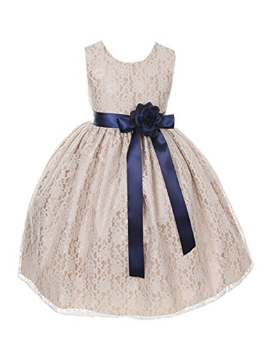 Cinderella Couture Girls Champagne Lace Dress with Navy Sash & Flw 8 (1132)
