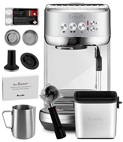 Breville Stainless Steel Espresso Maker - Breville BES500BSS Bambino Plus Espresso Machine Brushed Stainless Steel + Manufacturer's Warranty + Knock Box Mini