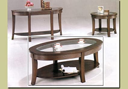 Coaster Simpson Casual Large Oval Cappuccino Coffee Table With Glass Top