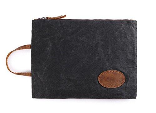 BAO Bolso ocasional de la lona de la cartera del bolso de embrague de los hombres impermeables retros del paño, Coffee color dark gray