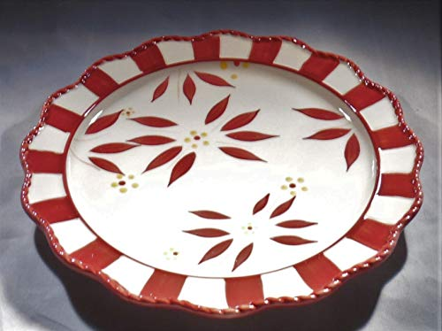 """(Temp-tations Old World Cranberry Set of Two 8"""" Dessert Plates with Checkerboard)"""