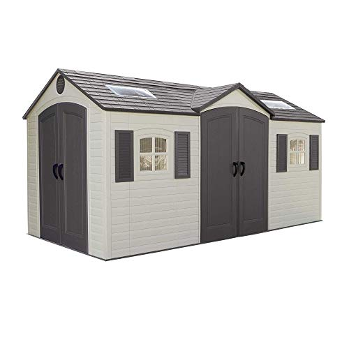 Lifetime 60079 Outdoor Storage Dual Entry Shed, Desert Sand