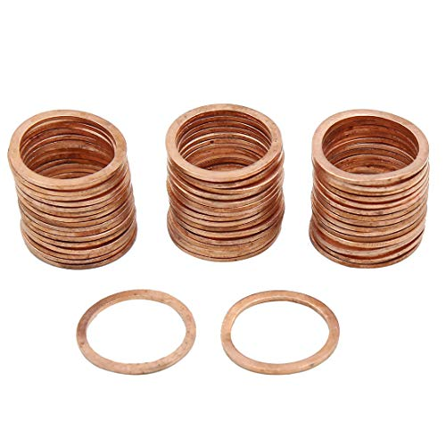 (X AUTOHAUX Copper Crush Washers Seal Flat Rings Gaskets 16mm Inner Dia for Car Engine)
