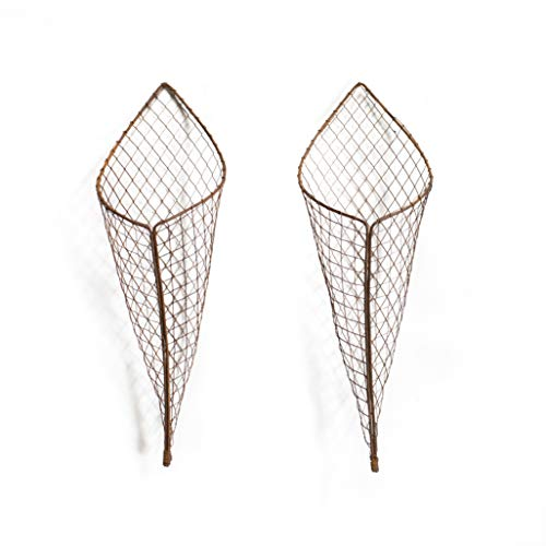 Rustic Wall Wire Cone Planter - Hanging Basket Set of 2 Metal planters Kitchen Farmhouse Chicken Wire vases. Cute Home Decor for Indoor Outdoor Plants, Succulents Faux Flowers Strawberry herb Garden ()