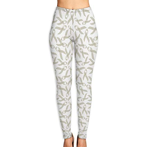 JHWJ@KU Women's Yoga Pants Lung Cancer Awareness Pattern Perfect Exercise Leggings White -