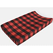 Changing pad cover in Red and Black Buffalo Plaid by AllTot - Boy Woodland Nursery Decor Handmade in the USA
