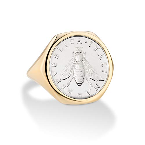 MiaBella 18K Gold Over Sterling Silver Genuine Italian 2 Lira Bee Coin Retro Signet Ring for Women ()