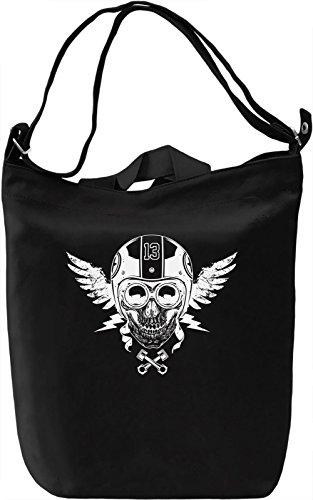 Motorcycle skull Borsa Giornaliera Canvas Canvas Day Bag| 100% Premium Cotton Canvas| DTG Printing|