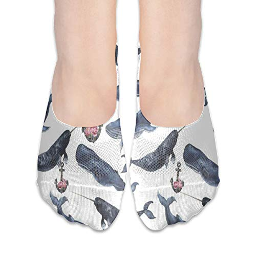 No Show Socks Whale Anchor Peony Flower Cachalot Narwhal Designer Womens Low Cut Sock Short Invisible Socks for Girl