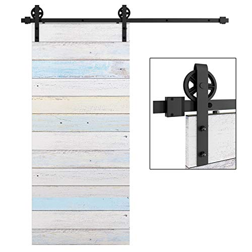 (EaseLife 6.6 FT Heavy Duty Big Wheel Sliding Barn Door Hardware Track Kit- Sturdy | Slide Smooth Quiet | One Piece 6.6FT Track | Easy Install | Fit up to 40
