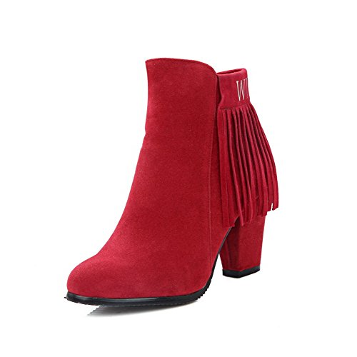 Red High Top Heels Zipper Boots Low Women's Fringed AgooLar Zw5Un8Oq8