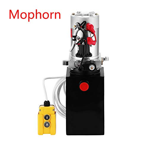 Mophorn 6 Quart 12V Hydraulic Pump Dump Trailer Power Unit (Steel, 6 Quart/Single Acting)
