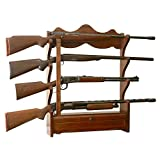 Wooden 4 Gun Wall Rack Displays Most 52'' Scoped Rifles And Double Barreled Shotguns Fully Locking Cabinetry To Keep Accessories Locked Storage Area Safe Secure Display Great for Large Or Small Room
