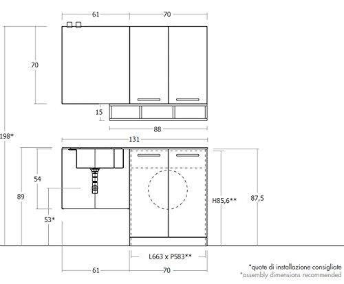 Dafnedesign.com   Mobile Lavanderia Porta Lavatrice / Asciugatrice E  Carrelli Cesti Bucato   Misura: L.131 P.35/62 Cm Finitura: Rovere Trancheu0027  Scuro ...