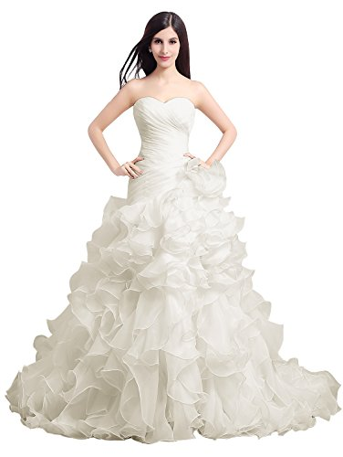 - Vinvv Strapless Flower Ruffles Long Mermaid Wedding Gown With Train Champagne Size 14