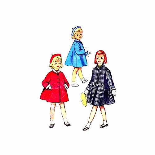 1950s Girls Coat Beret Detachable Collar Cuffs Simplicity 4576 Vintage Sewing Pattern Check Offers for Size