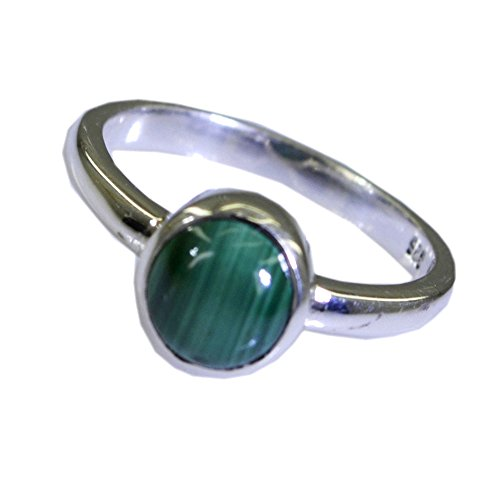Jewelryonclick Real Malachite Silver Couples Promise Ring Chakra Healing Jewelry Size 5,6,7,8,9,10,11,12 ()