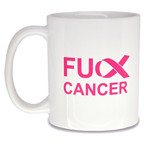 Fck Cancer Coffee Mug - (11 oz) Fuck Cancer Ceramic Tea Cup for Cancer Survivors and to Promote Cancer Awareness, Great Gift and Funny Novelty Idea (White)