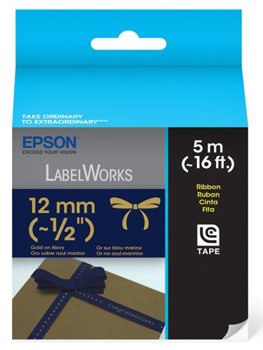 Epson LabelWorks Ribbon LC Cartridge 1/2-Inch Gold on Navy (LC-4HKK5)