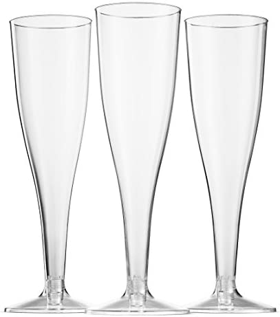100 Pack Plastic Champagne Flutes 5 Oz Clear Plastic Toasting Glasses Disposable Wedding Thanksgiving Party Cocktail Cups 2